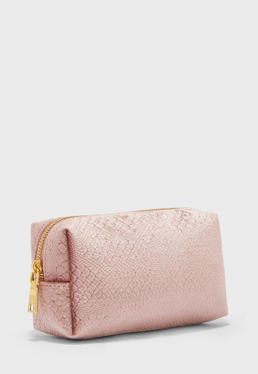 Velvet Crocodile Print Cosmetic Bag