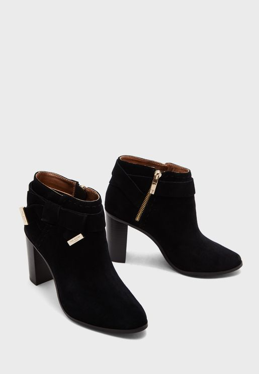 Wide Fit Anaedi Bow Detail Suede Ankle Boots