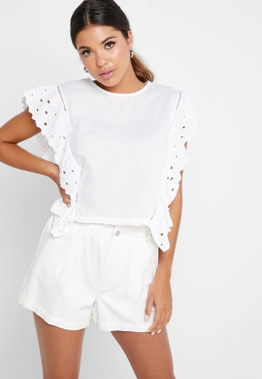 Embroidered Ruffle Detail Top