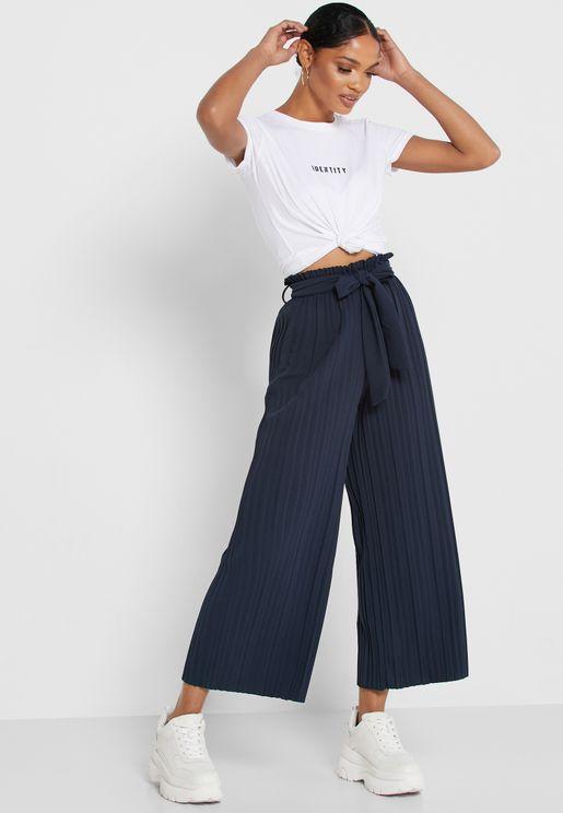 Pleated Self Tie Pants