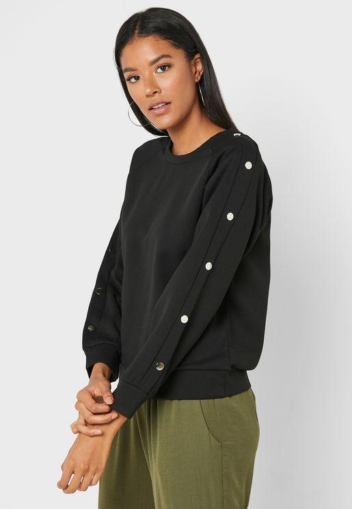 Popper Sleeve Sweatshirt