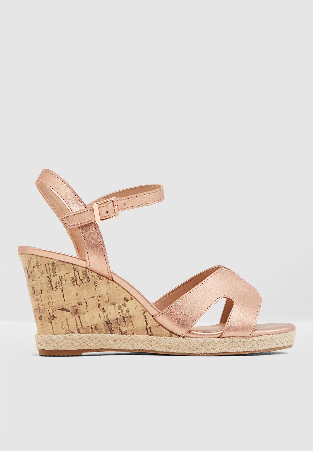 Wide Fit Potter Wedge Sandal - Rosegold