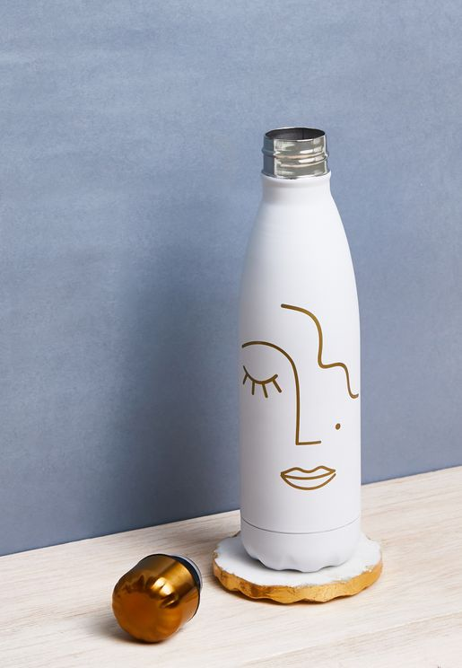 Abstract Face Stainless Steel Water Bottle