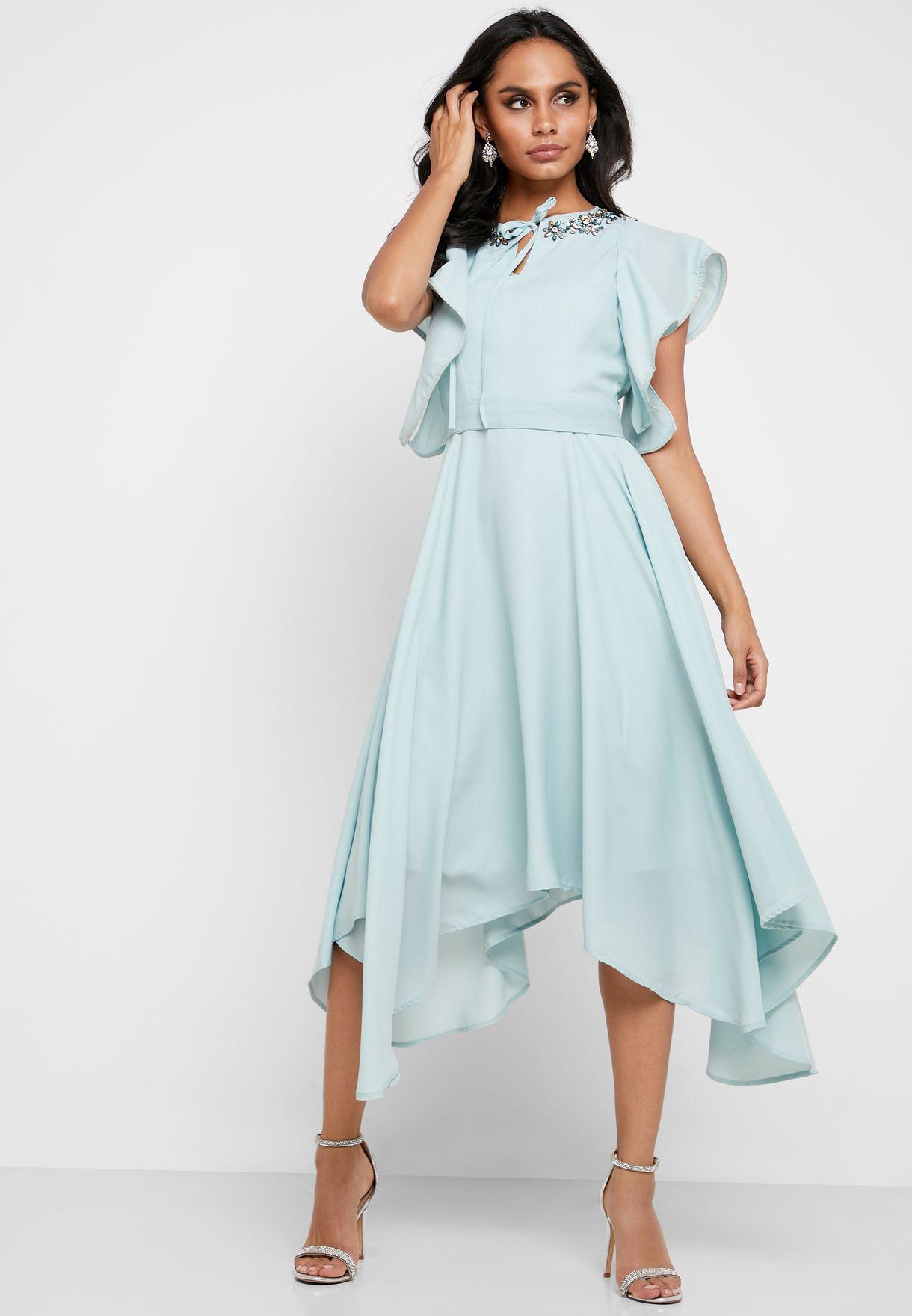 Ruffle Sleeve Embellished Dress