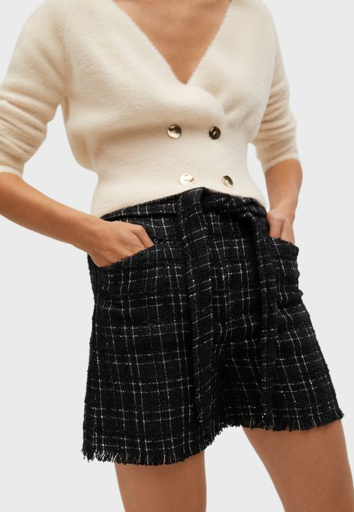 Belted Checked Shorts