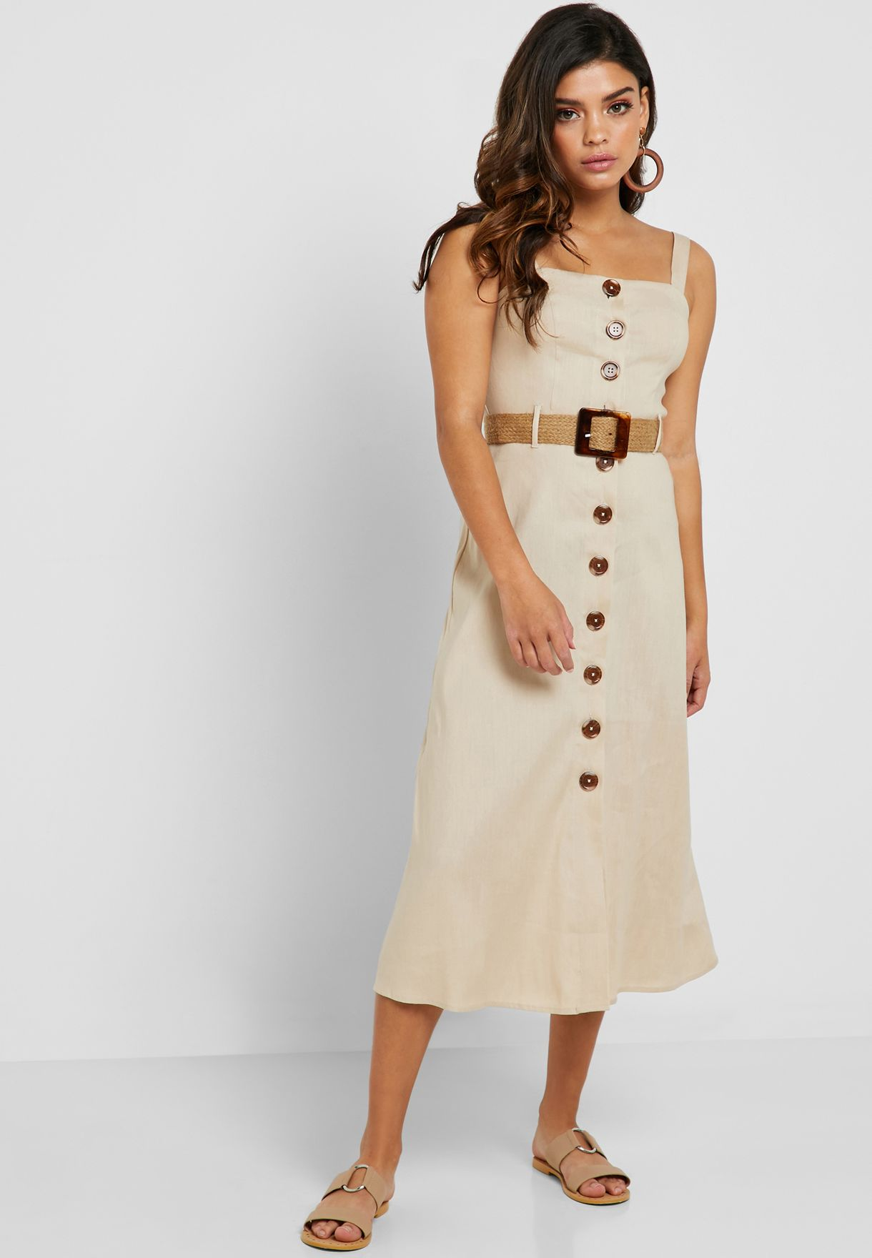 84a065e8d7d Shop Forever 21 beige Square Neck Button Down Dress 341834 for Women in  Qatar - 20008AT55CJP