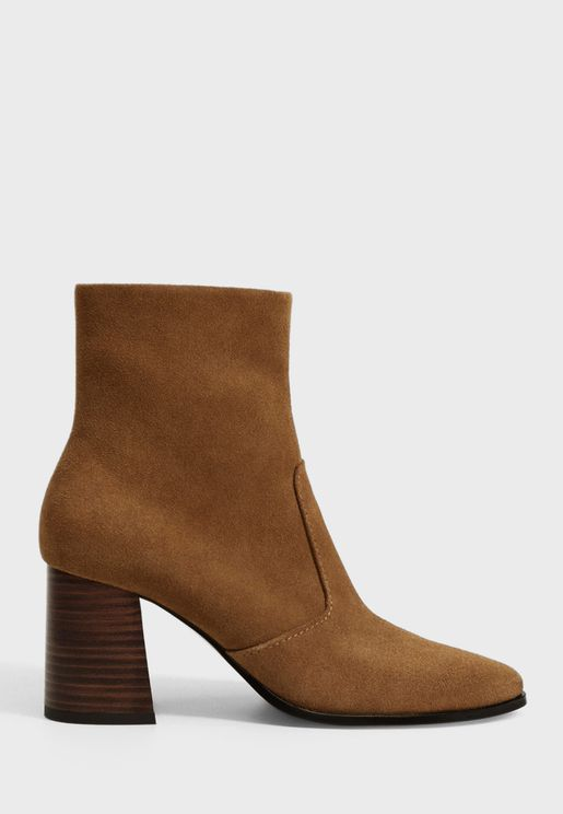 Casual Mid Heel Ankle Boots