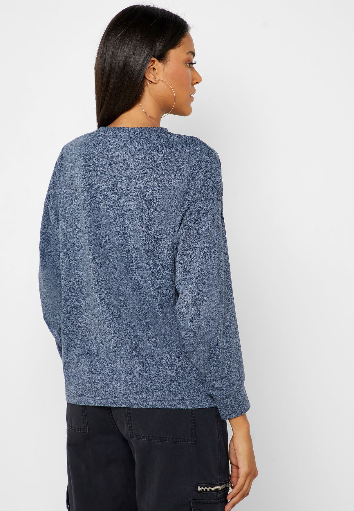 Embroidery Detail Textured Sweatshirt