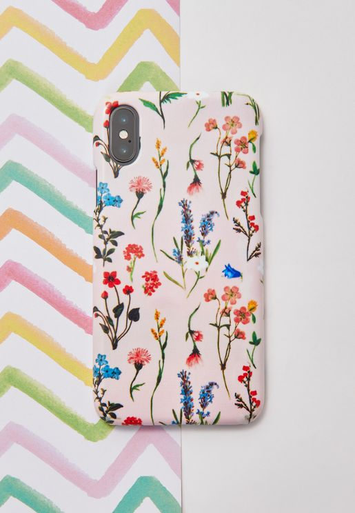 Pink Floral Print iPhone X Phone Case