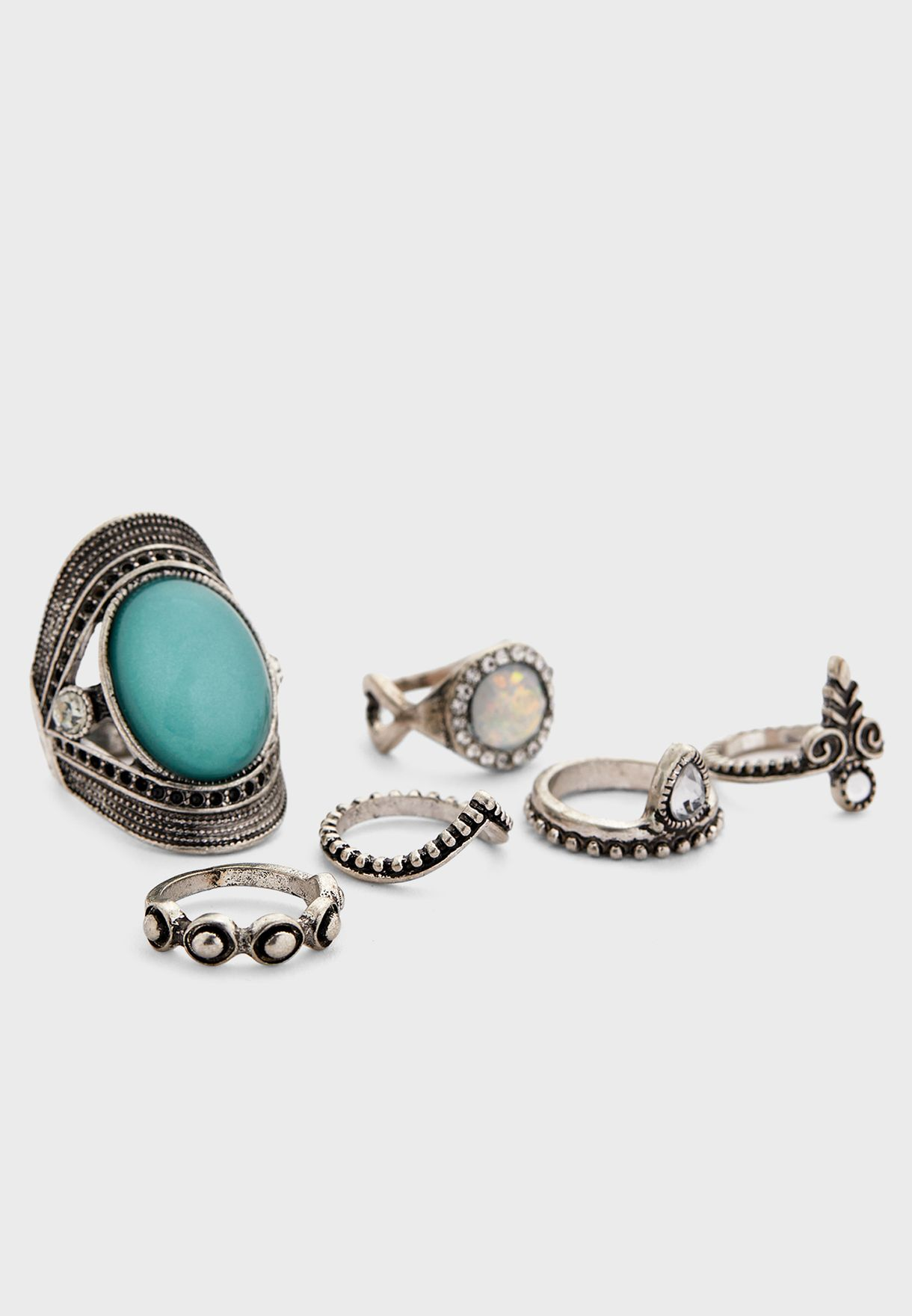 Stone Detail Grunge Ring Set