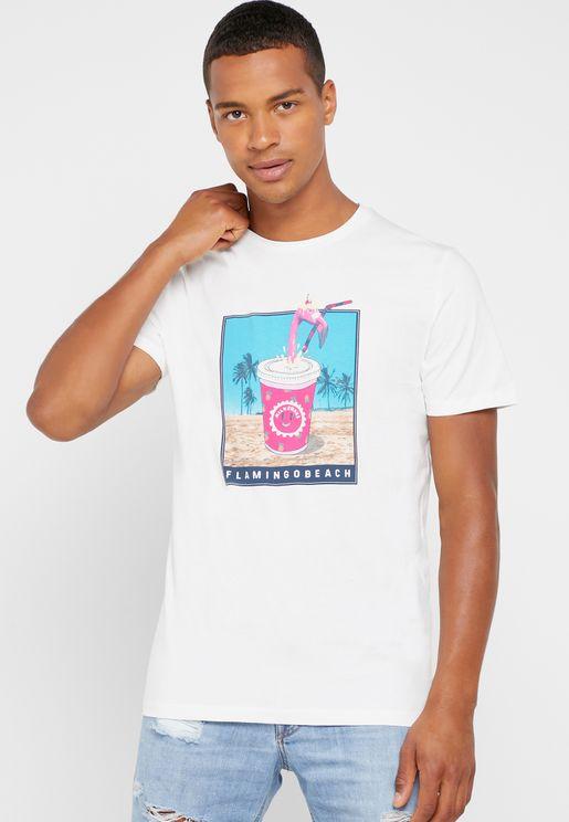 Flamingo Beach Print Crew Neck T-Shirt