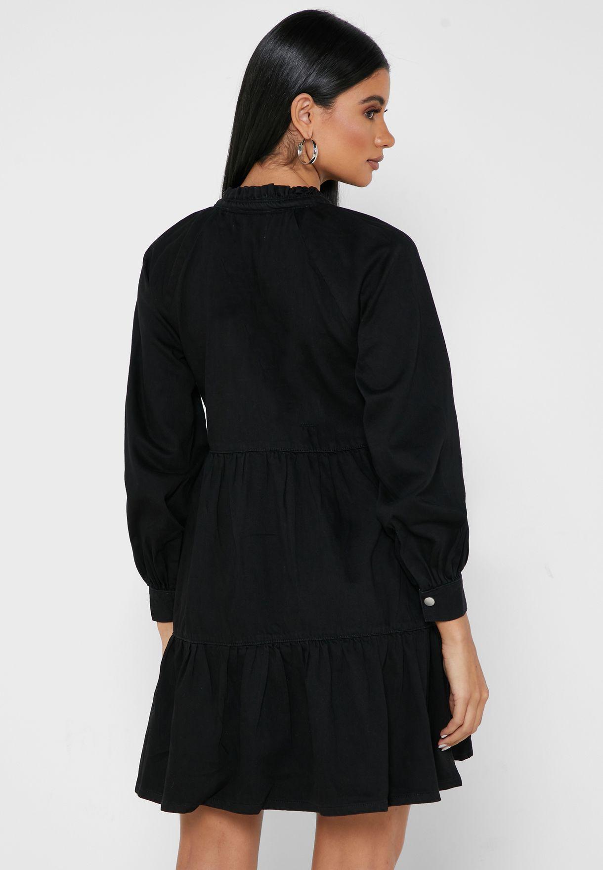 Tiered Hem Denim Dress