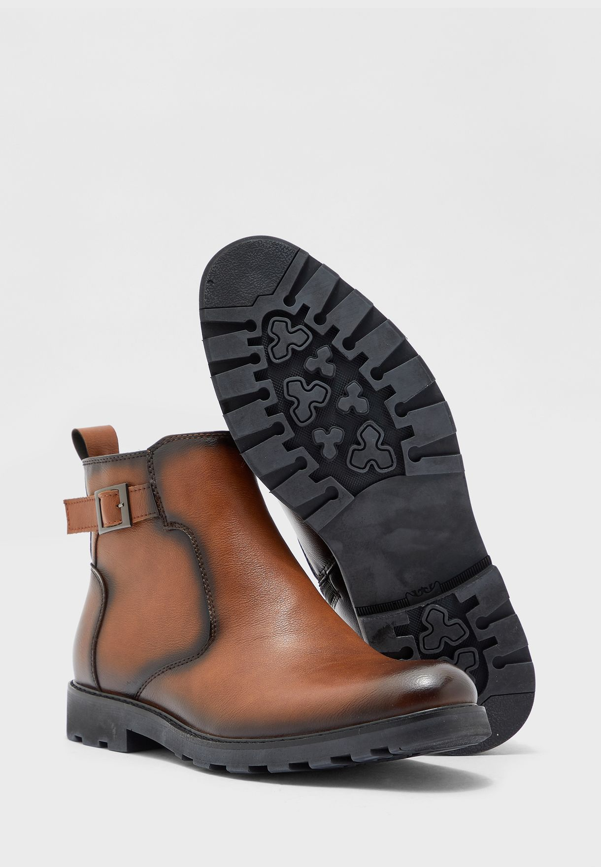 Buckle Detail Pull On Boots