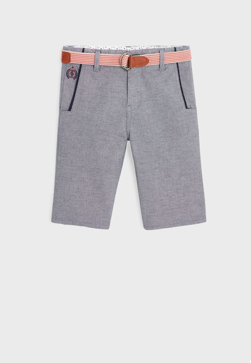 Kids Casual Shorts With Belt