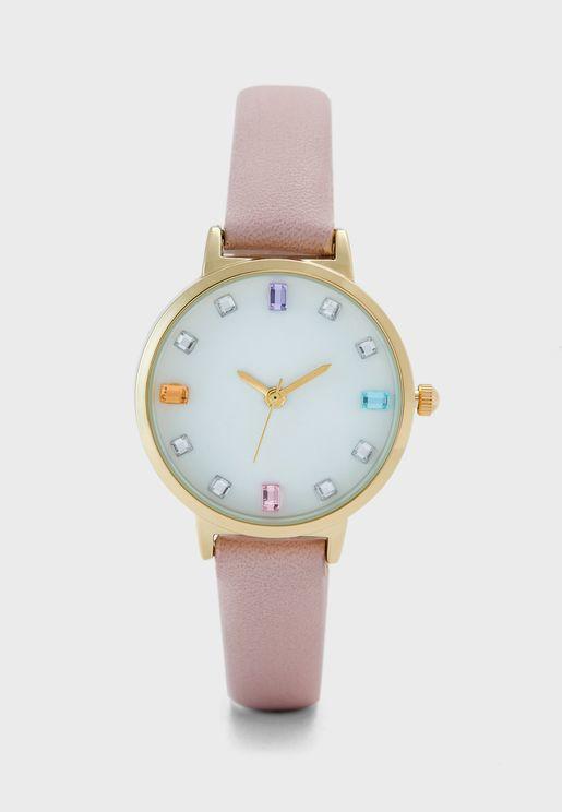 Coloured Baguette Stones Strap Watch