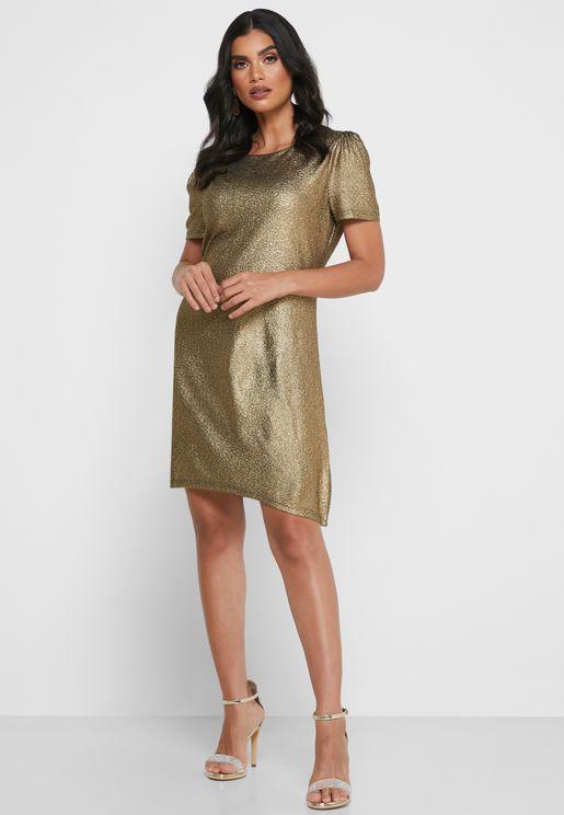 Puff Sleeve Shimmer Dress