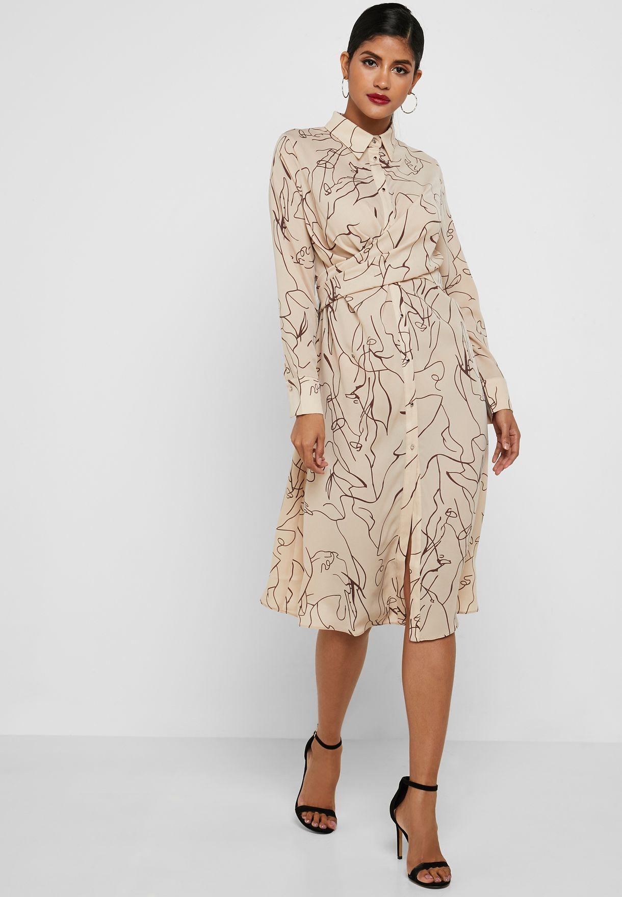 فستان ميدي بنمط قميص مع طبعات