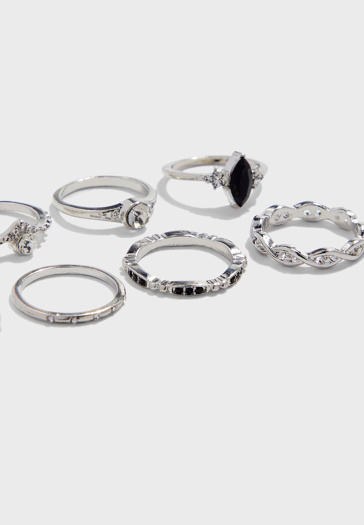Multipack Marquise Stone Grunge Rings