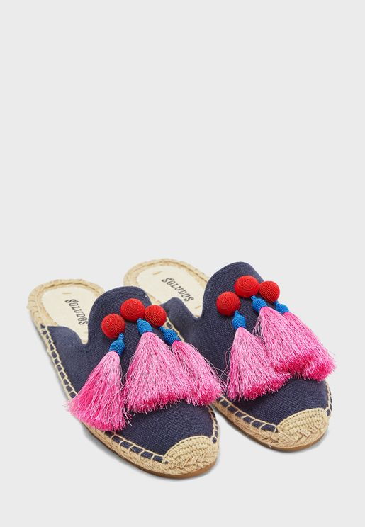 Alice Tassel Mule Slip On - Midnight Blue