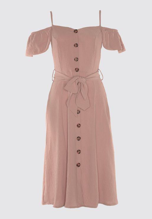 Button Detail Bardot Dress