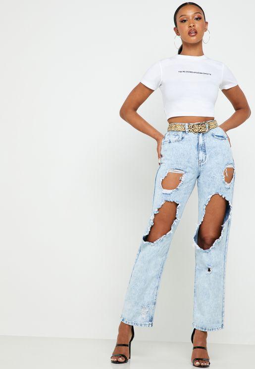 Roll Hem Ripped Boyfriend Jeans