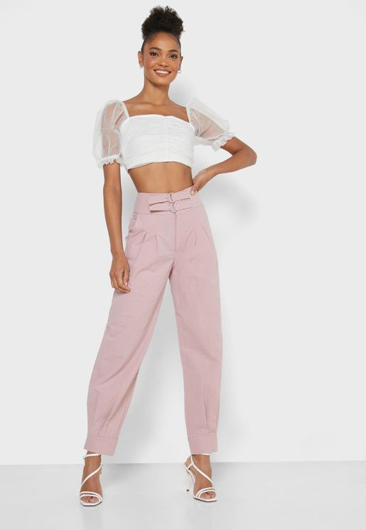 D-Ring Tailored Mom Pants