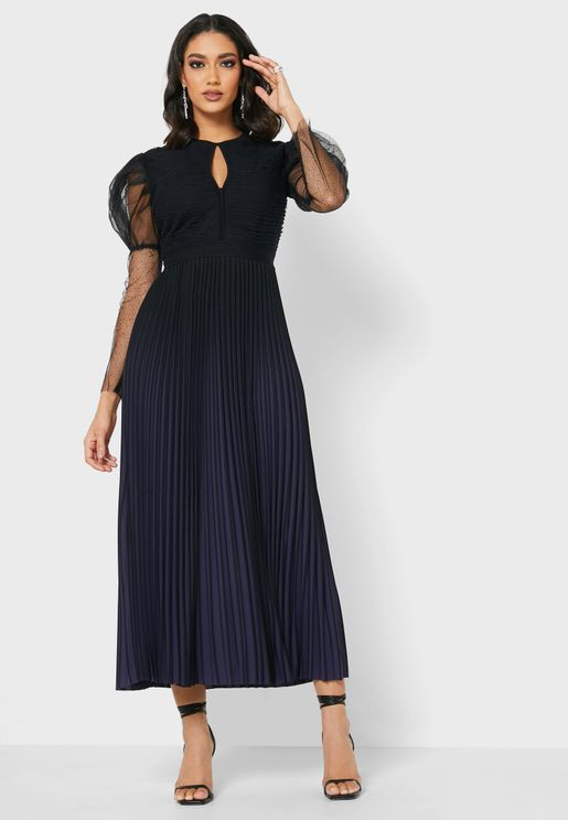 Pleated Puff Sleeves Dress