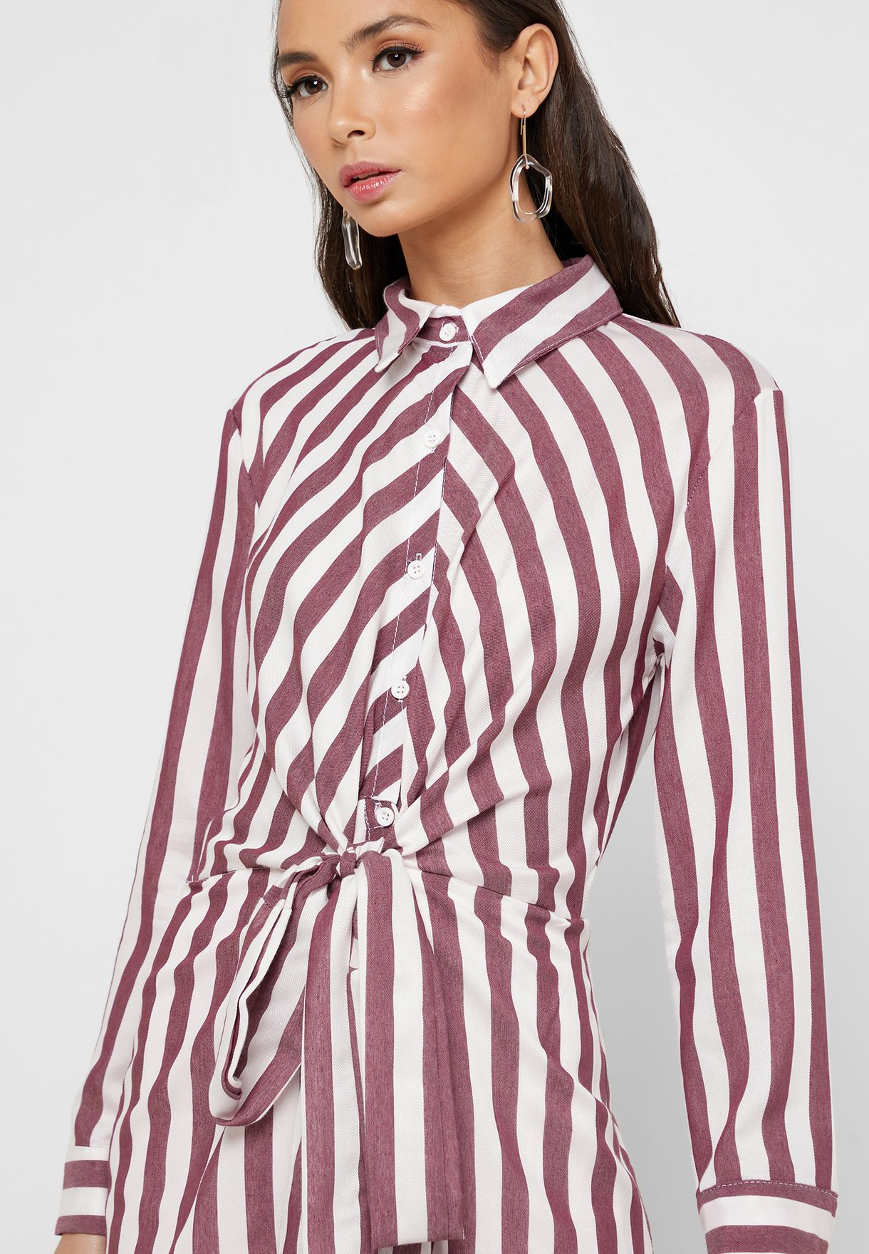 Striped Tie Front Shirt Midi Dress