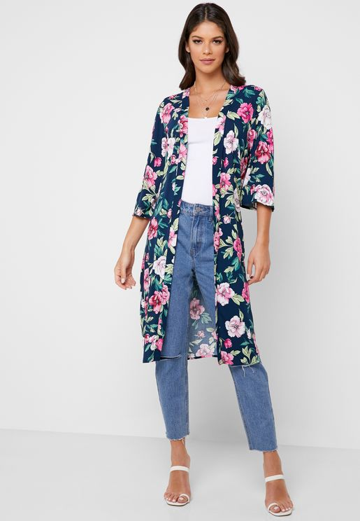 Floral Print Belted Kimono