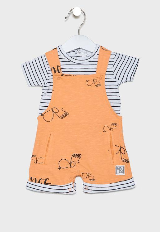 Infant Pocket detail Dungaree + T-Shirt Set