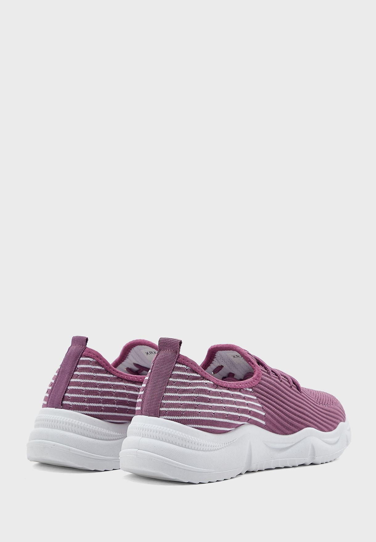 Rainbow Sole Lace Up Knit Sneakers