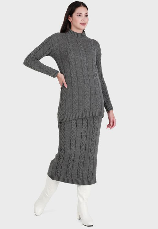 Polo Neck Knitted Sweater & Skirt Set