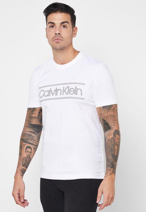 Horizontal Stripe Logo Crew Neck T-Shirt