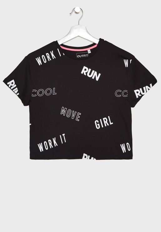 Kids Slogan Cropped T-Shirt