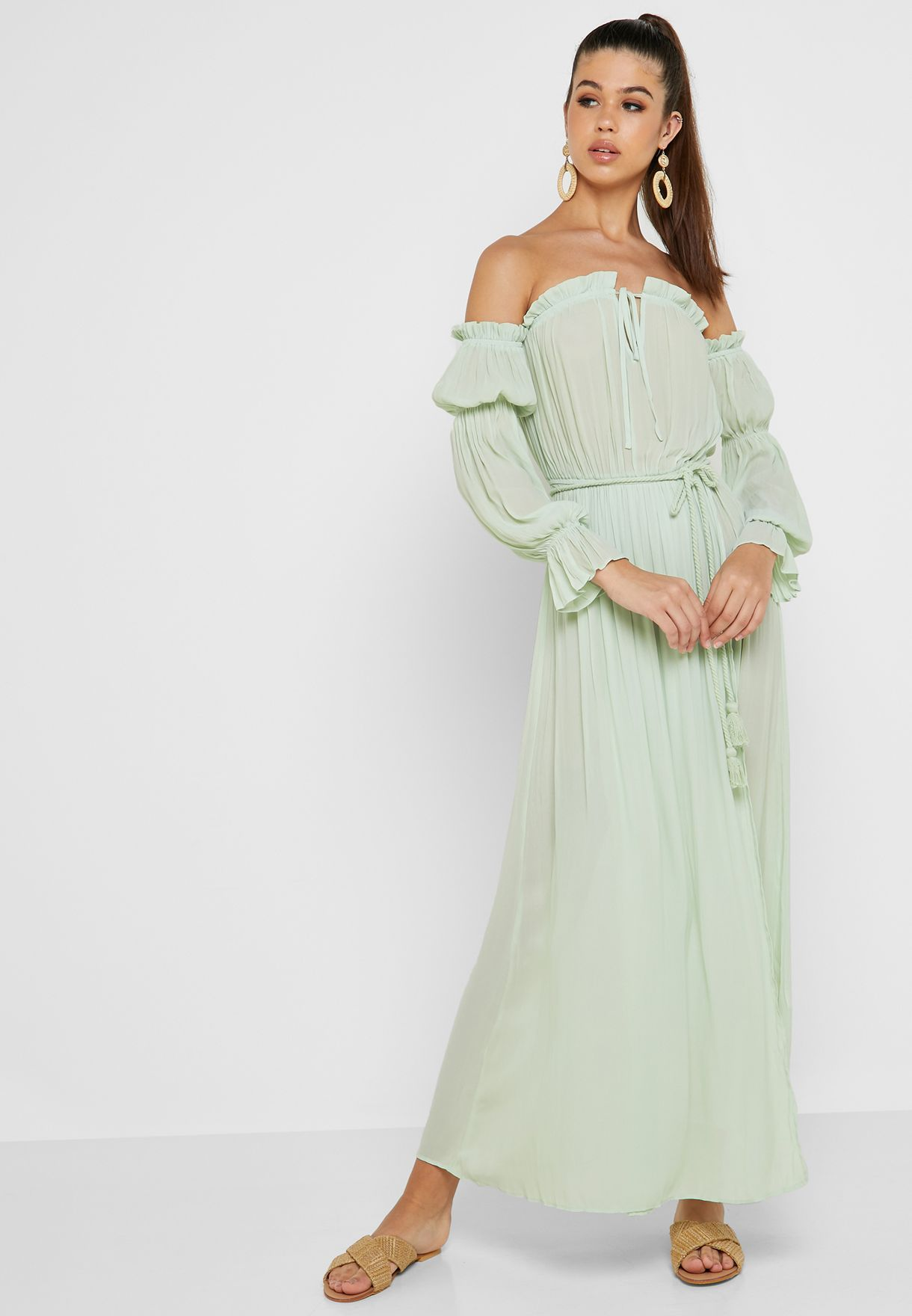 388f7b097f42 Shop Forever 21 green Ruffle Detail Bardot Maxi Dress 341371 for ...