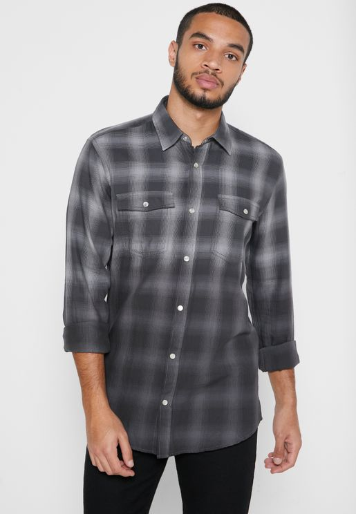 Aksel Dip Dye Checked Regular Fit Shirt