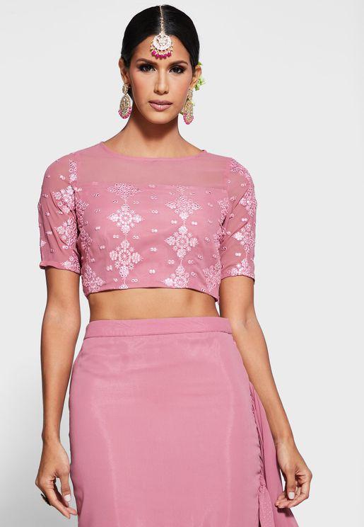 Pink Mirror Sheer Neck Crop Top