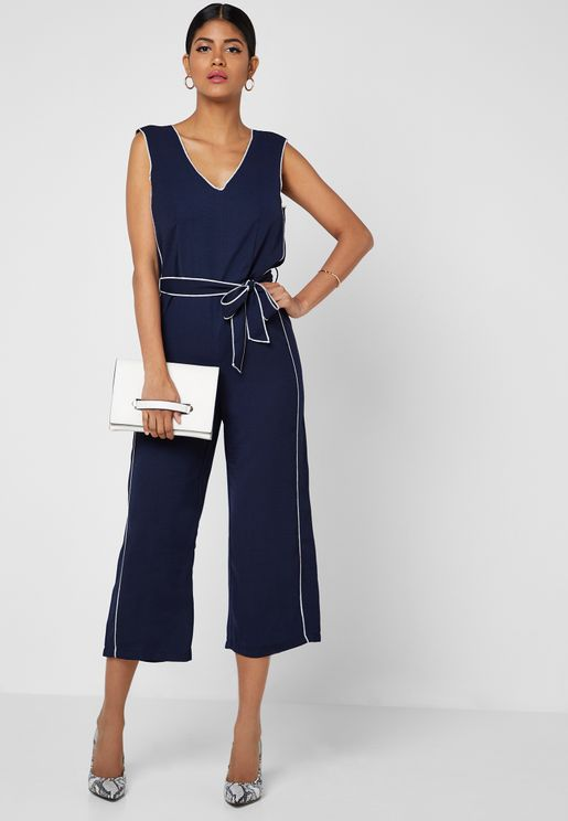 8302e6c451 Contrast Piping Self Tie Cropped Jumpsuit