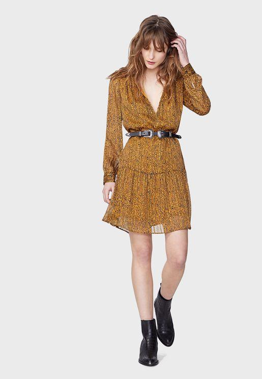 Jacquard Tiered Hem Dress
