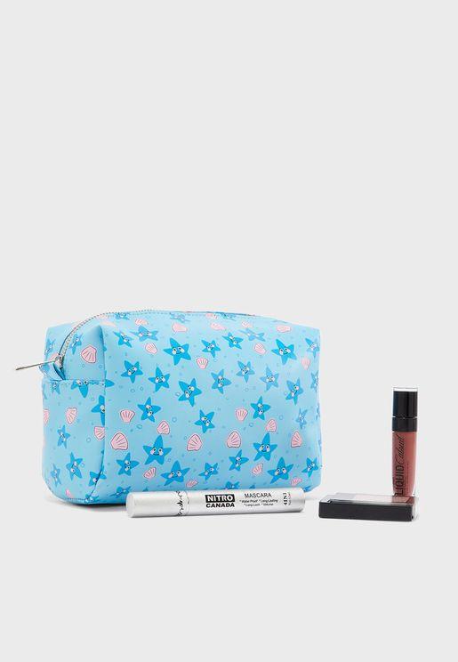 Starfish Print Cosmetic Bag