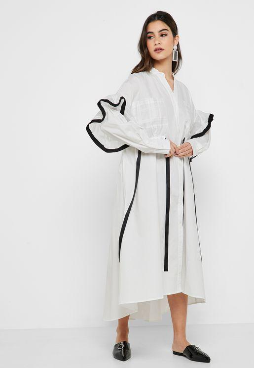 Contrasting Trim High Low Shirt Dress
