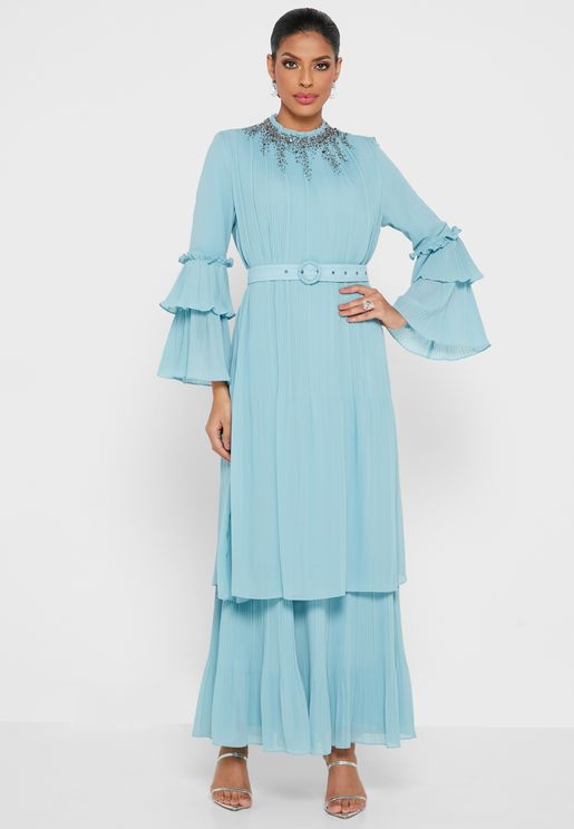 Flute Sleeve Layered Dress