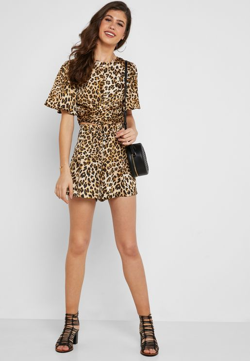 Leopard Print Tie Waist Shorts