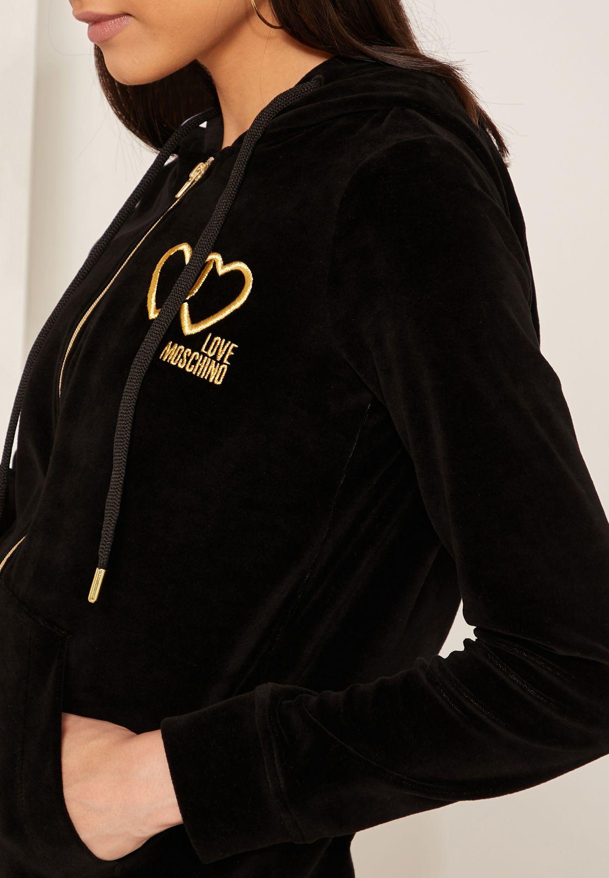 Zip Through Velour Logo Hoodie