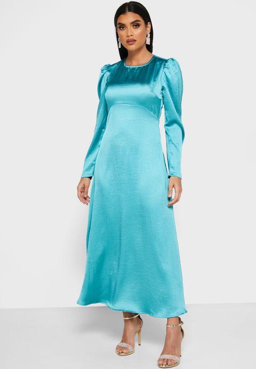 Puffed Sleeve Satin Midi Dress