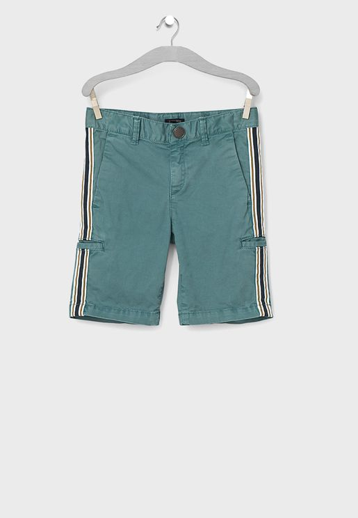 Youth Side Tape Striped Shorts