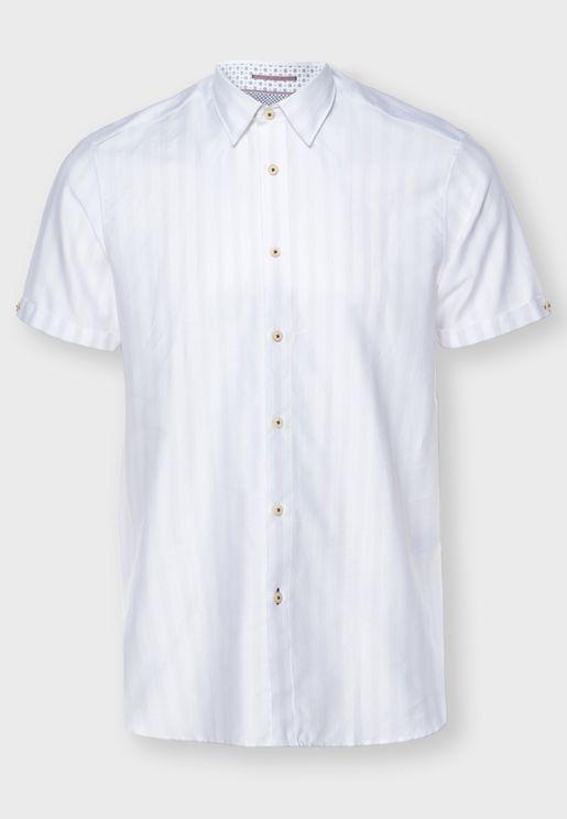 قميص سليم فت مخطط ومنقط