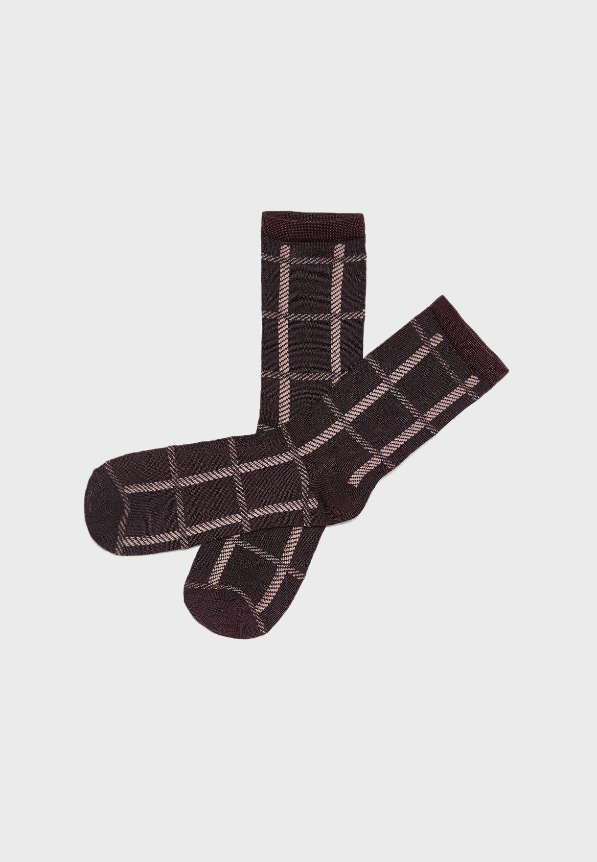 20580ad1a43 Shop Vero Moda multicolor 3 Pack Checked Socks 10203732 for Women in ...