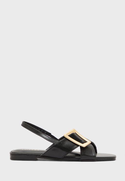 Buckle Slingback Square Toe Flat Sandal