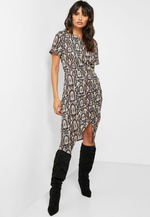 Side Split Printed Wrap Dress